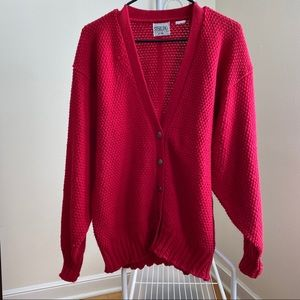 Vintage Red Balloon sleeve cardigan sweater